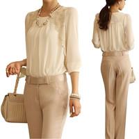 2014 Cheap  Fashion Elegant white chiffon blouse  Lace Embroidered long sleeve  Tops shirt  free shipping E1422-80