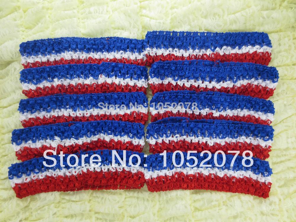 50pcs/Lot 4th of July American Flag Girl Kids Crochet Elastic Headband(China (Mainland))