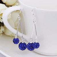 Fashion Jewelry Shamballa Earring New Tresor Paris Allure CZ Disco Ball Bead SBE168