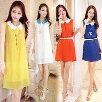 New 2014  Women Casual Sleeveless Plus Size Chiffon Dress With Belt SI104