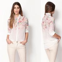 Spring New 2014 Women Blouse Ladies Casual Loose Long Sleeve Chiffon Shirt Floral Print Cardigan Sheer Blouses Blusas Femininas