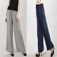 Women 2014 New Hemp Cotton Wide Leg Pants Culottes Trousers Casual Loose Hemp Linen Pants Free Shipping XKZ001