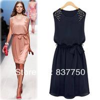 happy SZ Free Shipping! Slim temperament chiffon dress sleeveless vest  Pleated Bow Shoulder Beads Tank Mini Dress
