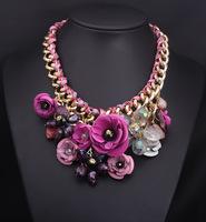 2014  Fashion Jewelry Spring Unique Multicolor Flower Statement Necklace Luxury Rhinestones Crystal Bib Necklaces & Pendants