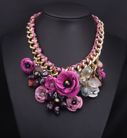 2014  Fashion Jewelry Spring Unique Multicolor Flower Statement Necklace Luxury Rhinestones Crystal Bib Necklaces & Pendants