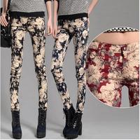 New Fashion Women's Pants 2014 Flower Trousers Summer Print Casual Pencil Pants