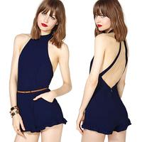 2014 new sexy Fashion sexy richcoco racerback ruffle hem trousers chiffon jumpsuit one-piece dress pants d357