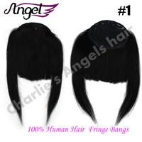 Charlie's Angels 100% Human Hair Fringe Bangs Clip In/On Side Natural Hair Bangs Long Human Hair Extensions 14 Colors Optional
