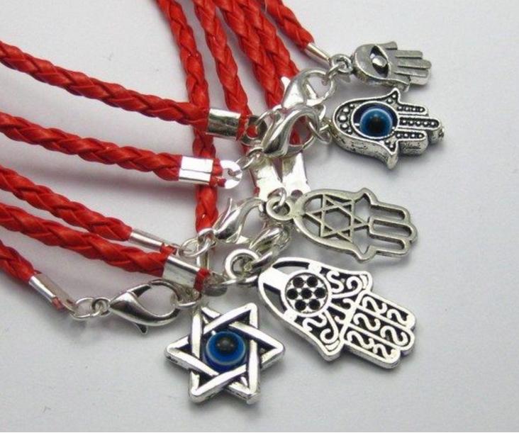 50Pcs Fashion Vintage Silver Mixed Kabbalah Hamsa Hand Charms Red Leather Good Luck Bracelets&Bangles Men Jewelry 20cm N1925(China (Mainland))
