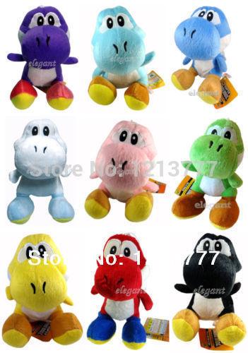 "Wholesale Free Shipping Sale 200 Pcs High Quality Super Mario Bros Yoshi Plush Anime 9 Color 7"" Plush figures(China (Mainland))"