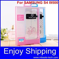 wholesale DHL free shipping 15 pcs/lot  leather back cover cases for samsung galaxy s4 i9500 with box