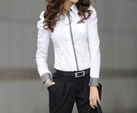 happy SZ The new commuter Miss Han Ban long-sleeved shirt bottoming shirt Puff Professional Women FCS0011