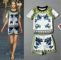 2014 Summer Casual Women High Street Print Twinset Nationality Customs Pattern Tops&Shorts Street Wear Vintage Catwalk Suit