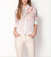 happy SZ  Hot Sale new European style fashion casual gradient flower printed chiffon blouse ladies temperament Tops FCS0010