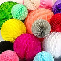 "4"" inch 10 cm Mini Tissue Paper Honeycomb Pom Pom Ball Lantern  Wedding event Party supplies Craft Wedding Home Decoration"