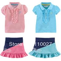6pcs/lot wholesale 2014 new short sleeve clothes set polo t shirt + tutu skirt kids dress sets children clothing set ruffle suit