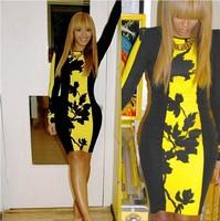 happy SZ  New European Fashion Women clubwear dress Popular Elegant Bodycon Peplum ruffle Dress Casual Dress