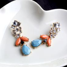 Free Shipping Rhinestone Crystal Drop Earrings Anthropology Teardrop Faceted Acrylic Beads Honey Bee Crystal Earings