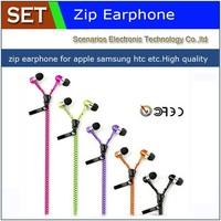 Free shippin High Quality Stereo Bass Headset In Ear Metal Zipper Earphones Headphones with Mic 3.5mm MP3 MP4 MP5 phone earphone