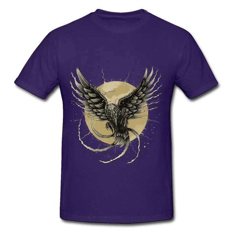Customize Casual T Shirt Men Animal Raven Cool Class T-Shirts Men's Short-Sleeve(China (Mainland))