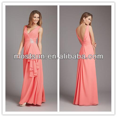 Long Salmon Pink Dress