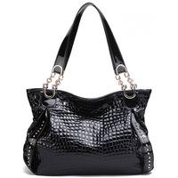 ( Black)2P0906  series Crocodile Embossing Handbag Split Leather Ladies' Handbag
