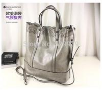2014 women genuine leather handbags sac desigual vintage messenger bags laser cut big tote bag free shipping