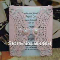 Laser cut wedding invitation card with Pearl