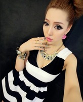 Fashion sexy deep 3858 V-neck black and white stripe color block women's patchwork puff skirt one-piece dress