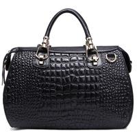 ( Black)  2P0950 series Crocodile Embossing Handbag genuine  Leather Ladies' Handbag