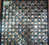 [Mius Art Mosaic] Glossy silver & blue color mix diamond mirror  glass mosaic tile for kitchen backsplash D3006