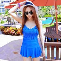 Personality tassel 2014 one-piece dress swimwear steel small plus size hot spring female swimsuit plus size