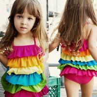 Female child swimwear colorful swimwear one-piece swimsuit child swimwear 1288
