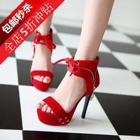 Hot sale 2014 fashion scrub velvet sexy ultra high heels platform plus size sandals shoes Women's fashion sexy red sandals 34-43