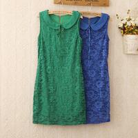413 New 2014 summer mini tun-down collar sleeveless sundress sweet temperament sheath lace dresses