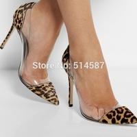 Designer women leopard print calf hair PVC pump pointed toe high heels transparent stiletto thin heel dress shoes plus size10