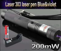 Top Laser 303 200mW blue & violet Laser Pointer Adjustable Focal Length and Star Pattern Filter+3000mah 18650 battery+charger