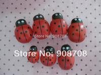 W0119 Fashion Ladybug Beads Back-Glued 15mm*12mm Wood Button 100pcs