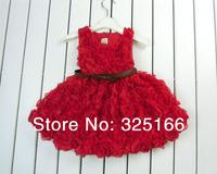 Retail Beautiful Summer Girl Rose Cotton Dress With PU Belt Children Flower Princess Party Dresses Free Shipping