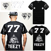 3D MALL!2014New Streets fashion Back yeezy leather sleeve 77 men T-shirt with short sleeves 3D/Galaxy T shirts tops tees