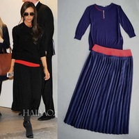 Victoria style Dark Blue Stretch Knit Blouse+Pleated Skirt  Skirt Set 140423JD01