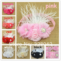 Trail order 2014 baby girl kids headband chiffon/tulle flower satin rosettes feather FOE headbands hair accessories 20pcs/lot