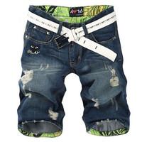 Free Shipping 2014 New Arrival Male summer denim shorts hole trend knee-length men's capris pants slim straight denim jeans