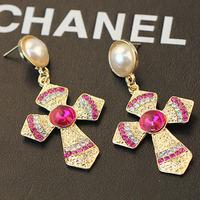 2014 New arrive fashion pearl stud earrings quality rhinestone baroque cross earrings