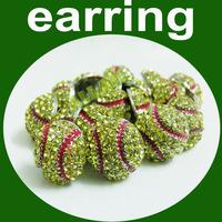 Softball Rhinestone Stud Earrings