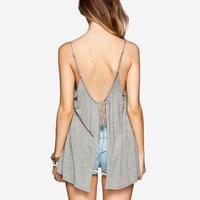 girl's fashion sexy camis Light gray spaghetti strap back women's small vest long tops Full sizes XS-XXL