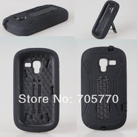 For Samsung Exhibit T599 Hybrid Combo Silicon Plastic PC Back Skin Phone Cases With Kickstand For Samsung T599 Cellphone Cases