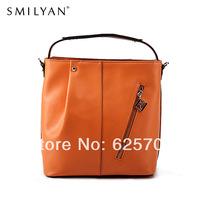 Free Shipping!Smilyan 2014 new pleated zipper decoration women leather handbag portable bucket bags crossbody shoulder bags 8068
