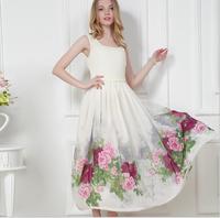 free shipping  fashion printed summer party maxi dress elegent fashion formal dress sleevless long white dress summer