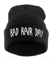 2014 autumn and winter warm hats,fashion knitted caps,black embroidery letters men and women hat bad Hair Day Beanie hat hiphop